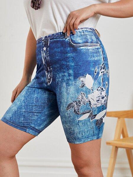 Plus Flower Print Biker Shorts