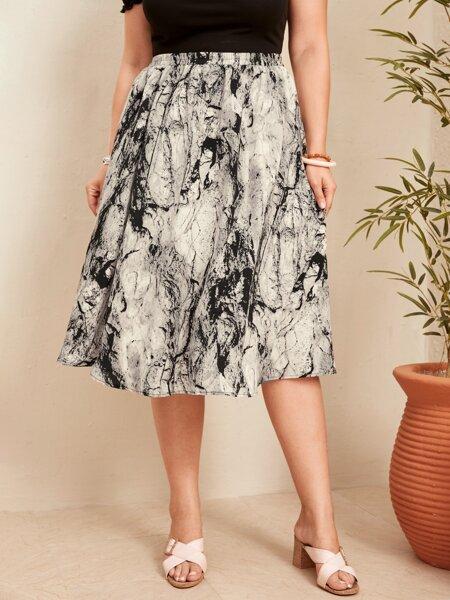 Plus Marble Pattern Skirt