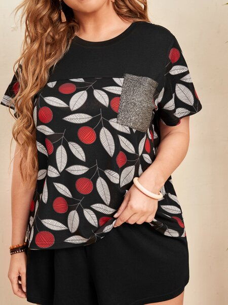 Plus Contrast Sequin Leaf Print Tee & Shorts