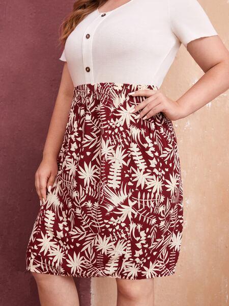 Plus Tropical Print Skirt