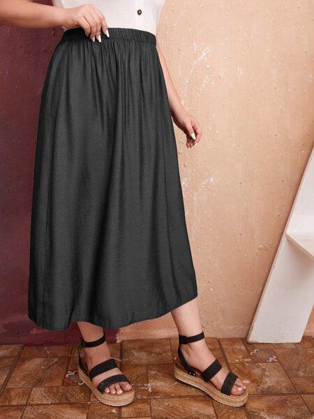 Plus Solid High Waist Skirt