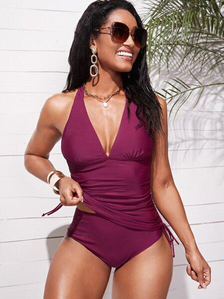 Solid Drawstring Side Halter Bikini Swimsuit