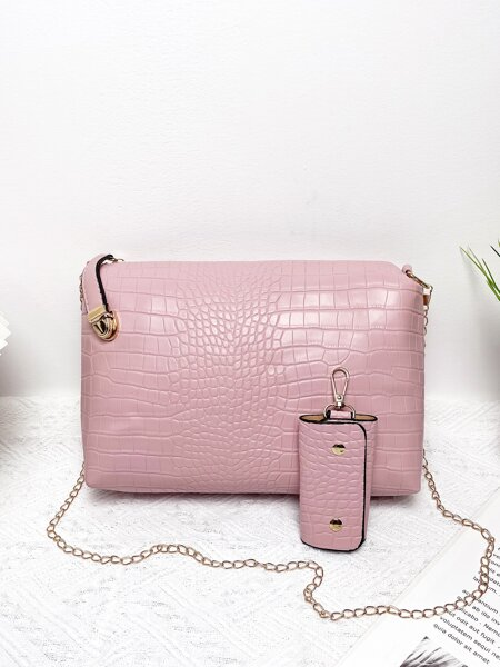 Croc Embossed Chain Crossbody With Key Case