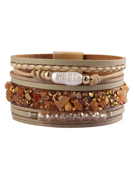 Rhinestone Decor Layered Bracelet