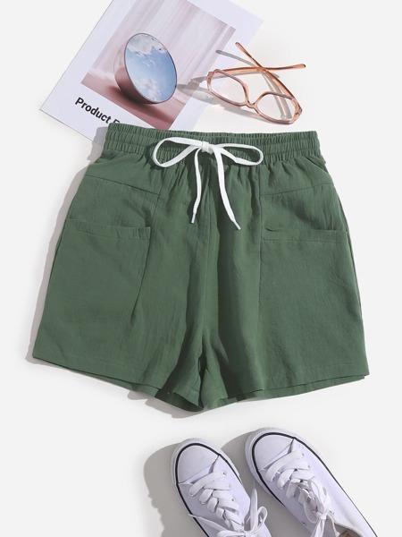 Solid Dual Pocket Wide Leg Shorts