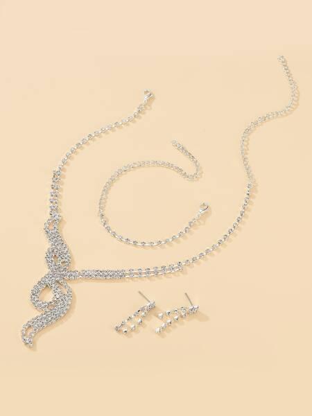 4pcs Rhinestone Jewelry Set
