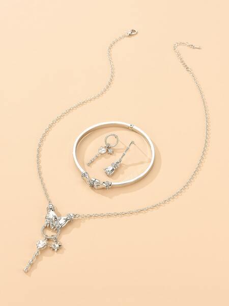 4pcs Rhinestone Detail Jewelry Set