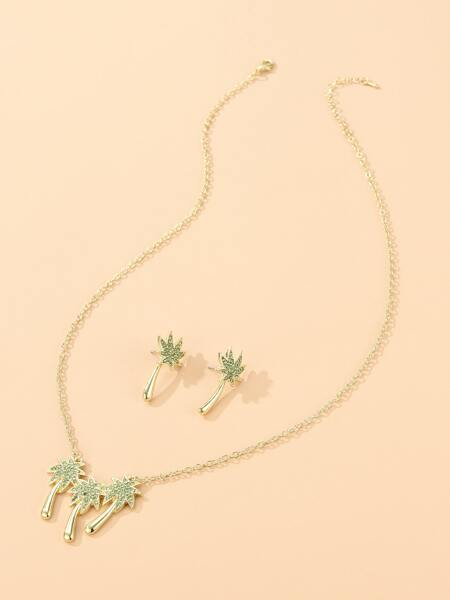 3pcs Rhinestone Coconut Tree Decor Jewelry Set