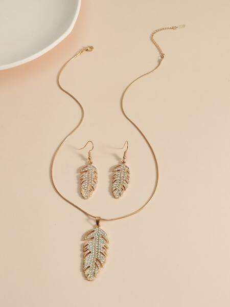 3pcs Rhinestone Feather Jewelry Set