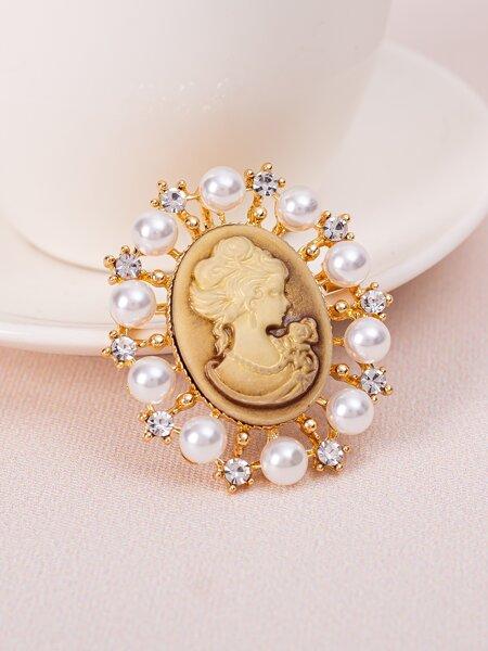 Faux Pearl Decor Brooch
