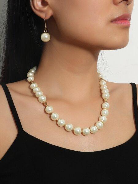 3pcs Faux Pearl Jewelry Set