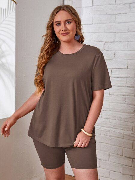 Plus Solid Round Neck Tee and Biker Shorts Set