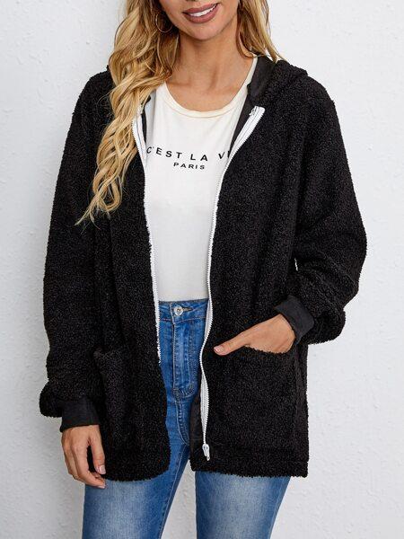 Solid Hooded Teddy Coat