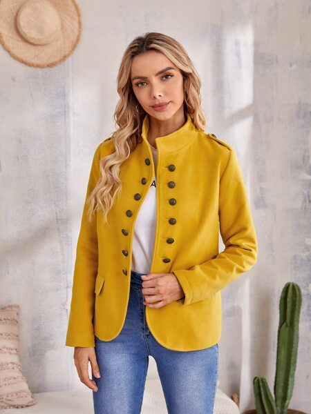 Solid Button Through Funnel Neck Overcoat