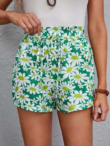 Allover Floral Knot Front Shorts