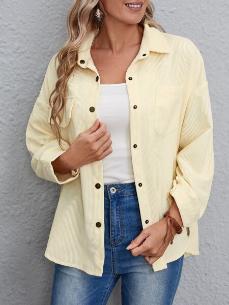 Solid Pocket Patched Button Up Corduroy Coat