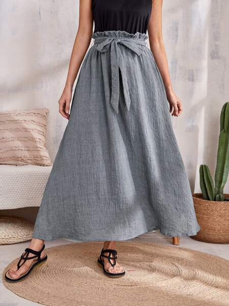 Paper Bag Waist Belted Skirt