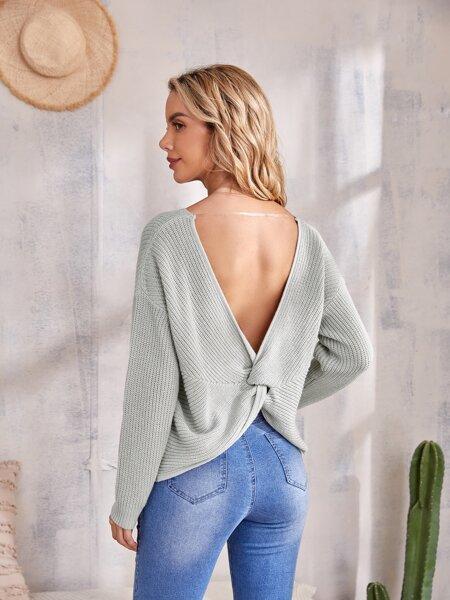 Twisted V-back Drop Shoulder Sweater