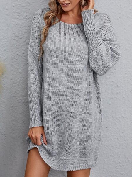 Solid Drop Shoulder Sweater Dress