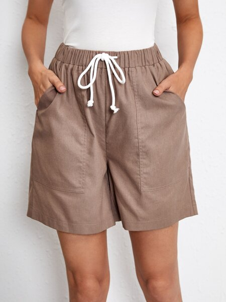 Drawstring Pocket Linen Shorts