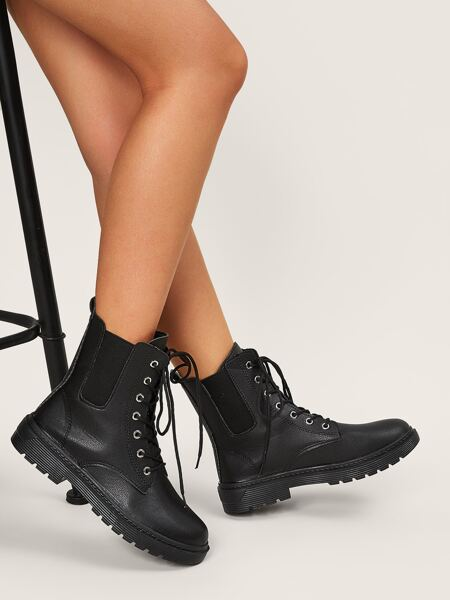 Minimalist Lace-up Front Chelsea Boots