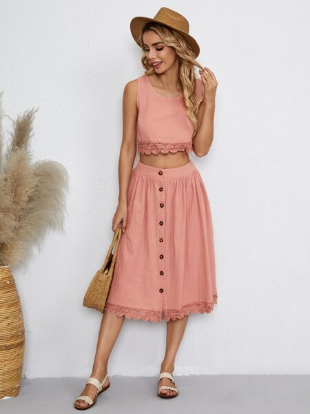 Solid Lace Trimed Top & Skirt