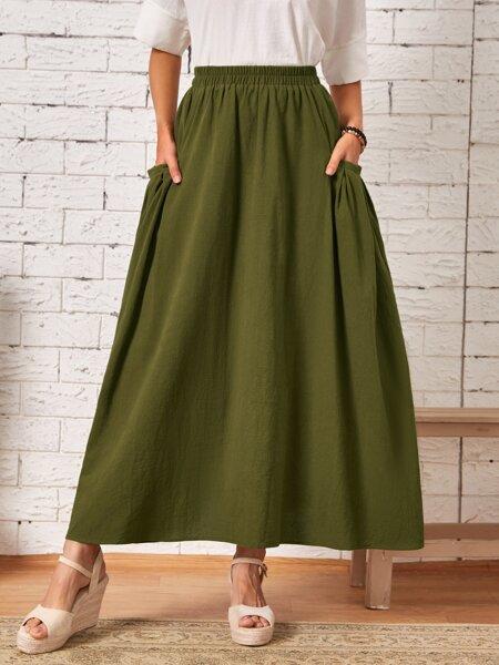 Dual Pocket A-line Skirt