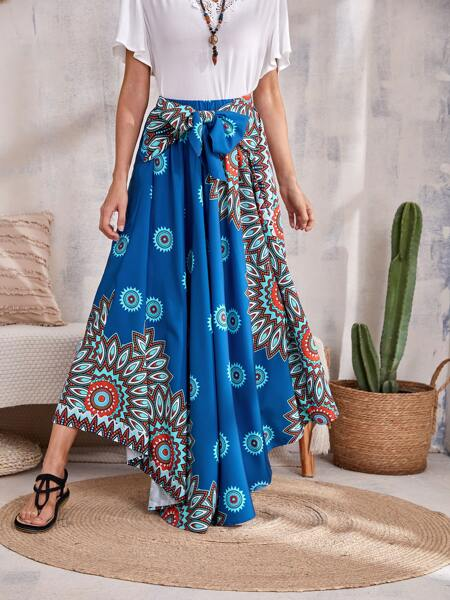 Graphic Print Tie Front Curved Hem Skirt