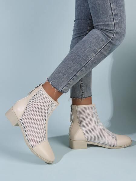Minimalist Mesh Panel Boots