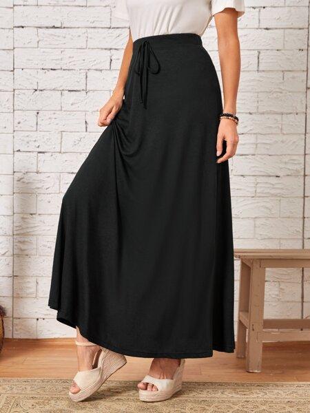 Solid High Waist Knot Front Skirt