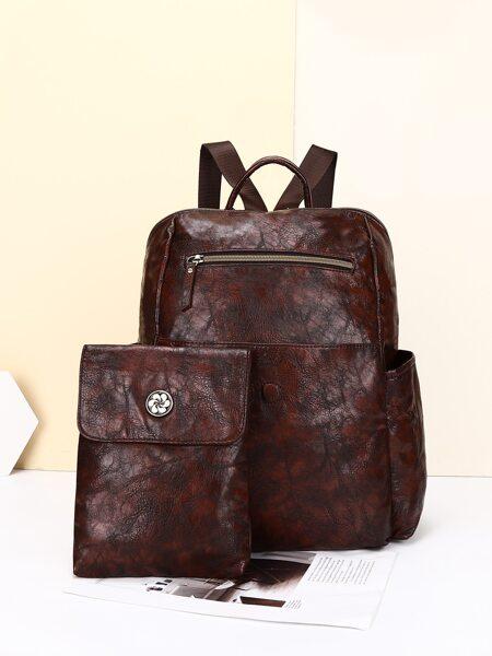 2pcs Minimalist Ruched Backpack Set