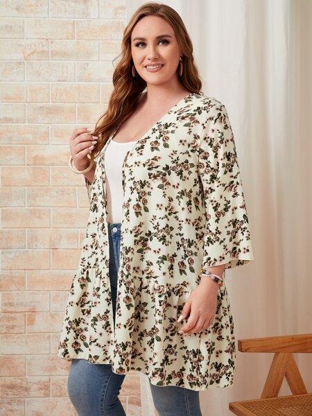 Plus Floral Open Front Kimono