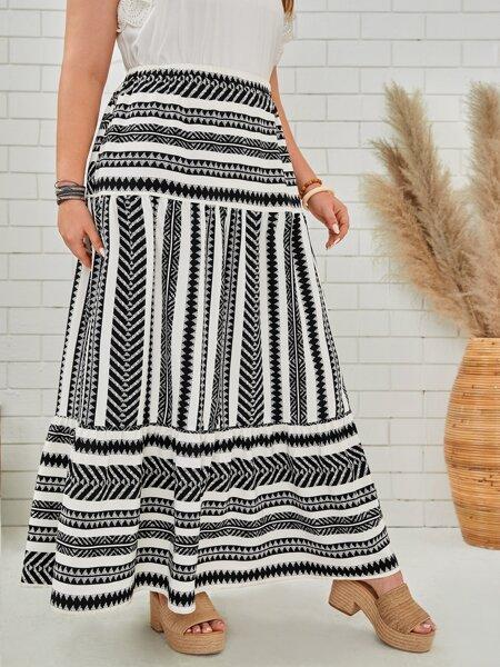 Plus Geo & Stripe Print Flare Skirt