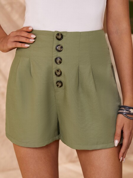 Solid Button Front Wide Leg Shorts