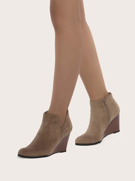 Minimalist Slide Zip Wedge Boots