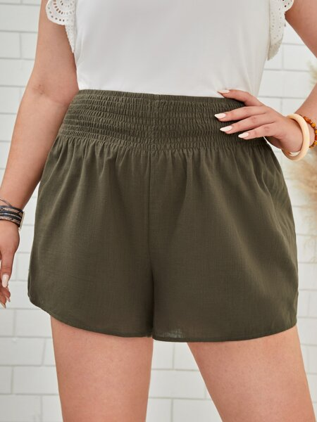 Plus Shirred Waist Shorts