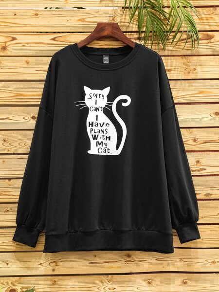 Plus Cartoon Cat & Slogan Graphic Sweatshirt