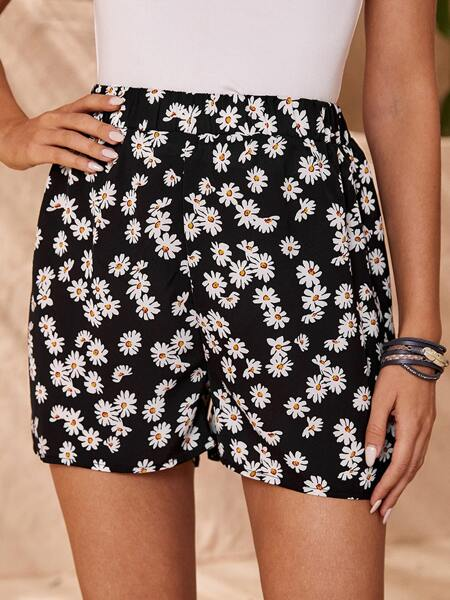 Daisy Floral Wide Leg Shorts