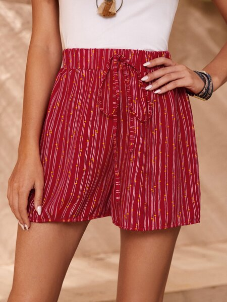 Striped Tie Front High Waist Shorts