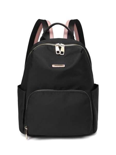 Minimalist Metal Decor Pocket Front Backpack