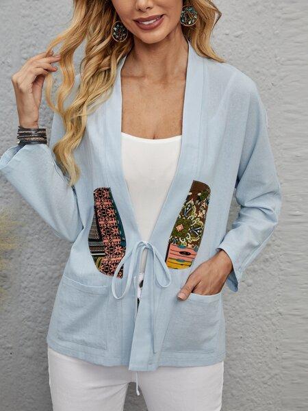 Graphic Dual Pocket Kimono