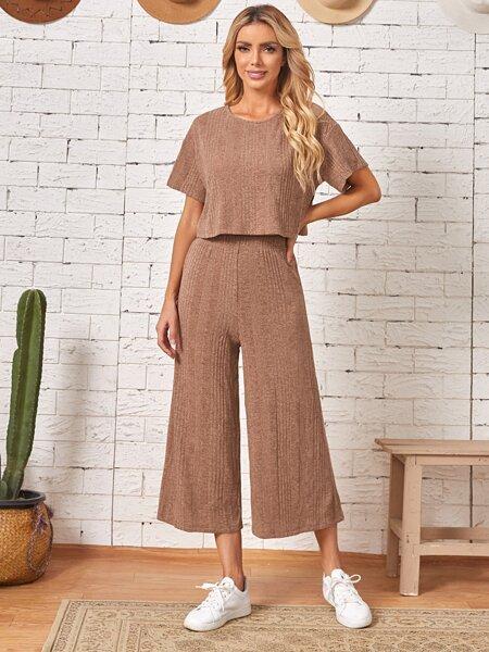 Drop Shoulder Tee & Wide Leg Pants