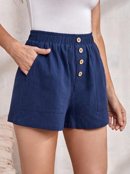 Solid Button Detail Slant Pocket Shorts