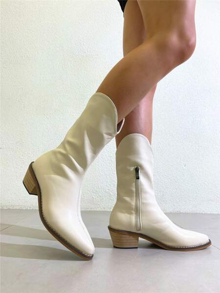 Minimalist Side Zipper Chunky Western Boots
