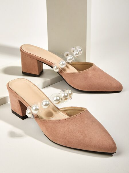 Faux Pearl Decor Chunky Heeled Mules