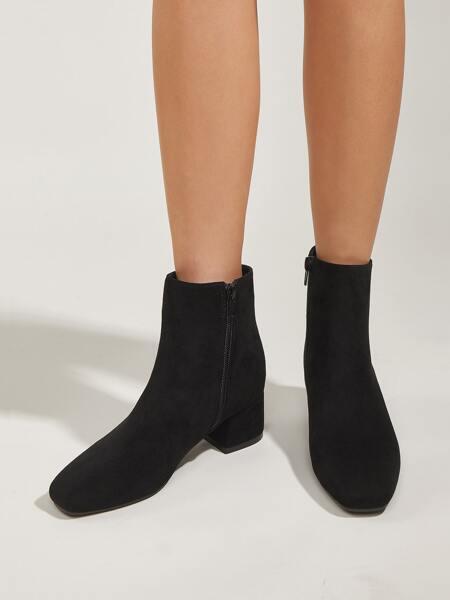 Minimalist Side Zipper Chunky Classic Boots