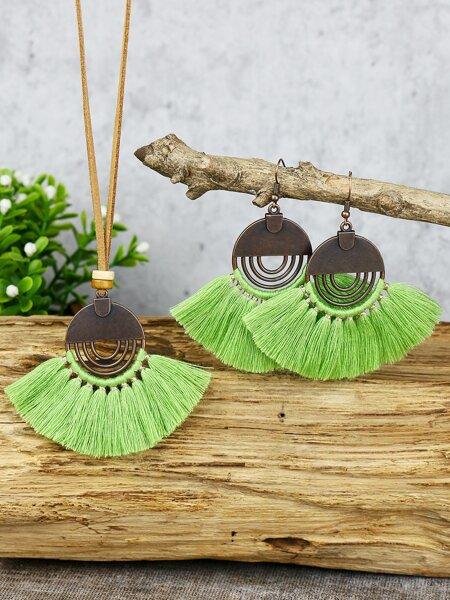 Tassel Drop Earrings & Necklace