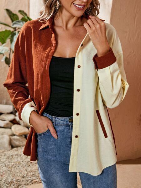 Drop Shoulder Color Block Slant Pocket Coat