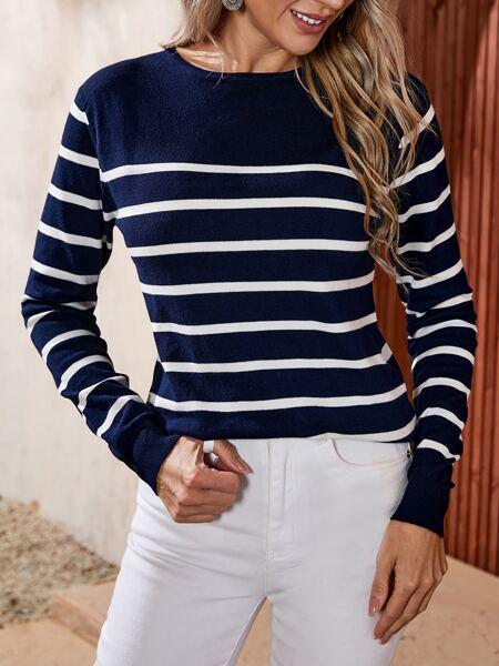 Striped Pattern Crew Neck Sweater