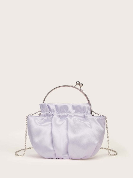Ring Handle Ruched Clutch Bag